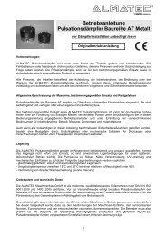Bedienungsanleitung Pulsationsdämpfer