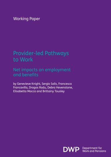 Provider-led Pathways to Work - Policy Studies Institute