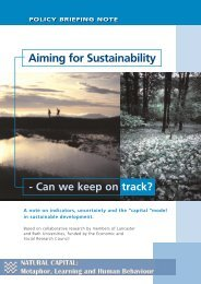 Aiming for Sustainability - Policy Studies Institute