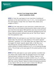 Acronis True Image Home 2009 Quick Installation Guide ... - Apacer