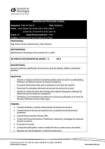 MAESTRIA EN PSICOLOGÍA CLÍNICA Asignatura: Taller de Tesis III ...