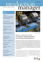 production manager 3/2013 - PSI Logistics GmbH