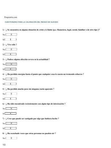 Cuestionario para la Valoración del Riesgo Suicida - Psiquiatria.com