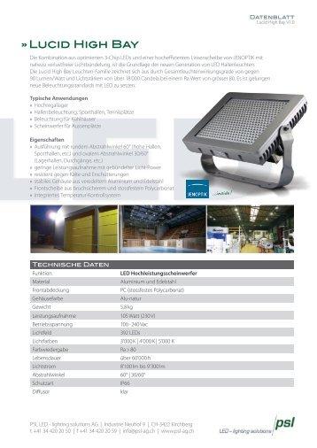 Produktblatt Lucid power High Bay - PSL AG