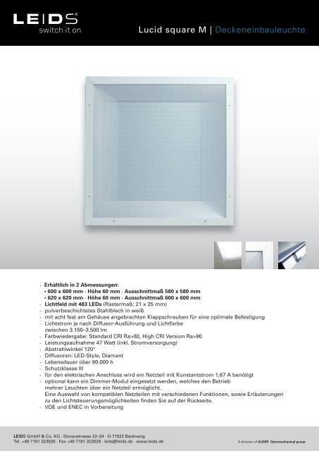 Lucid square M   Deckeneinbauleuchte - PSL AG