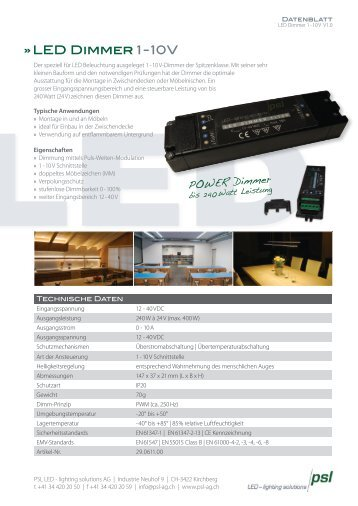 LED Dimmer 1 - 10 V - PSL AG