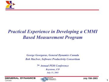 Practical Experience in Developing a CMMI Based Measurement ...