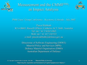 Measurement and the CMMI(SM): an Impact Analysis - Practical ...