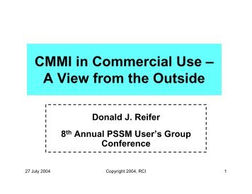 CMMI in Commercial Use – A View from the Outside