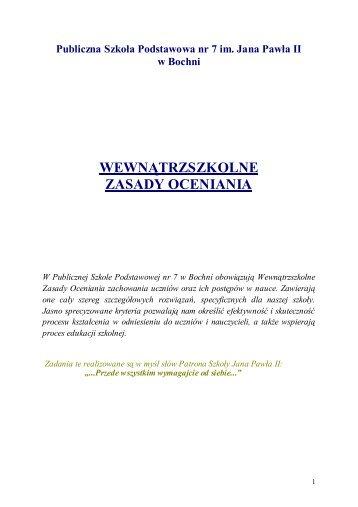 SZKOLNE ZASADY OCENIANIA - PSP7