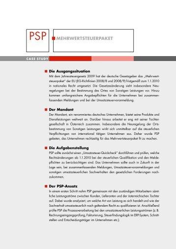 PSP MEhrwErTSTEUErPAkET - PSP München - Peters ...