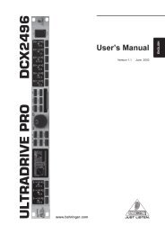 Manual for Behringer ULTRA-DRIVE PRO DCX2496 ... - Music123