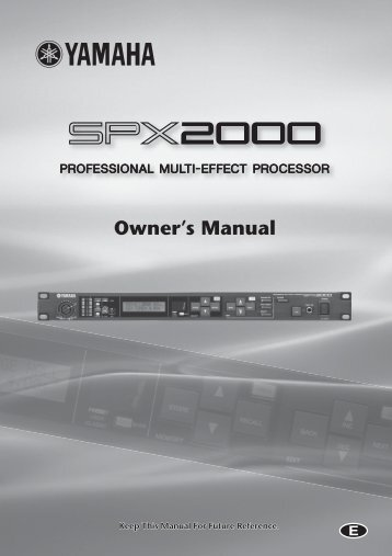 SPX2000—Owner's Manual - PSSL.com ProSound And Stage ...