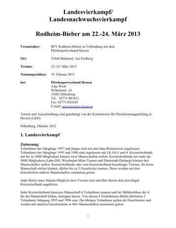 Ausschreibungs - Entwurf - Pferdesportverband Hessen eV