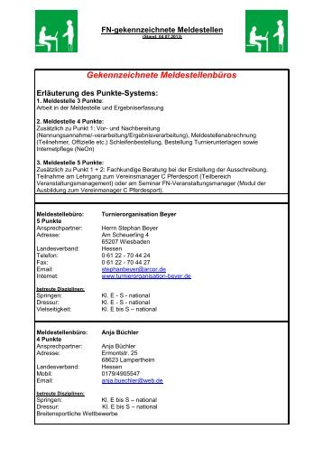FN gekennzeichnete Meldestellen - Pferdesportverband Hessen