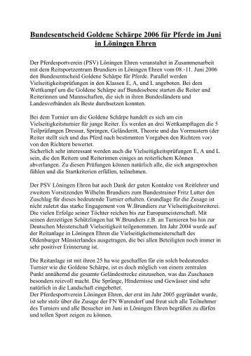 Turniertext-Goldene Schärpe - PSV-Löningen Ehren
