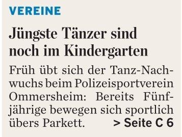 Junge Tänzer in guten Händen, Wochenspiegel - PSV-Saar
