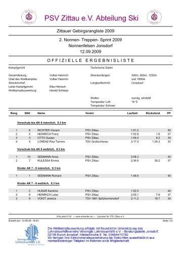 Zittauer Gebirgsrangliste 2009 2. Nonnen- Treppen ... - PSV Zittau