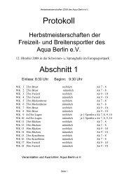 Protokoll Herbst 2008 - 1 - PSV Cottbus 90 eV Abteilung Schwimmen