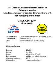 Offene Landesmeisterschaften des LSV Brandenburg, Potsdam