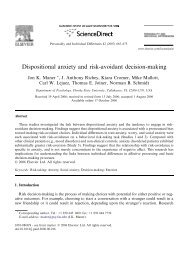 Dispositional anxiety and risk-avoidant decision-making