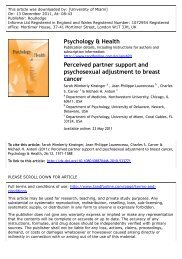 Perceived partner support and psychosexual adjustment to breast ...