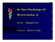 Dr. Ray's Psychology 101 Review Session II by TA Xiangmin Xu