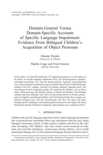 Domain-general versus domain-specific accounts ... - McGill University