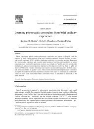 Learning phonotactic constraints from brief ... - Kyle E. Chambers