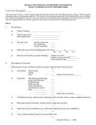McGill Psychology Internship Consortium feedback form