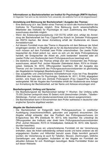 Anmeldung und Betreuung der Bachelorarbeit / Ausgab - Institut für ...
