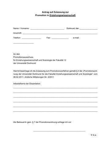 Antrag auf Zulassung zur Promotion in Erziehungswissenschaft