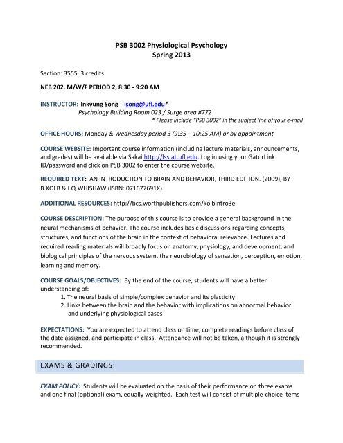 PSB 3002 Physiological Psychology Spring 2013 EXAMS