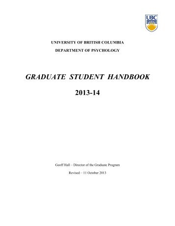 Graduate Student Handbook - University of British Columbia
