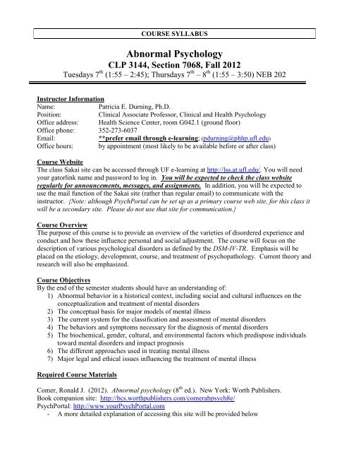 CLP 3144 syllabus - University of Florida Department of Psychology