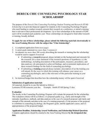 DERECK CHIU COUNSELING PSYCHOLOGY STAR SCHOLARSHIP