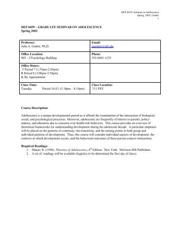Psychology 342 adolescence jean e rhodes phd dep 4305 adolescent psychology university of florida fandeluxe Images