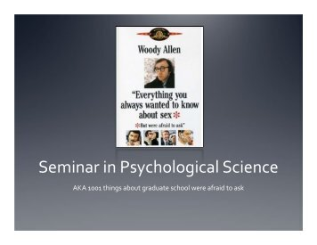 Seminar in Psychological Science - University of Florida Department ...