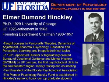 Faculty Hall of Fame - University of Florida Department of Psychology
