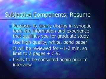 Vita, Resume and Personal Statement