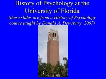 Departmental History - University of Florida Department of Psychology