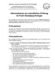 Informationen zur mündlichen Prüfung im Fach Sozialpsychologie