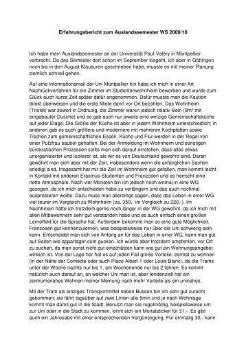 Erfahrungsbericht zum Auslandssemester WS 2009/10 Ich habe ...