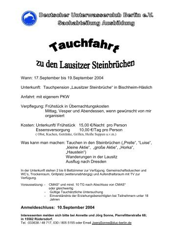17.september bis 19.september 2004 Unterkunft: Tauchpension ...