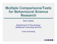 Multiple Comparisons/Tests for Behavioural Science Research