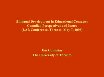 Bilingual Development in Educational Contexts ... - York University