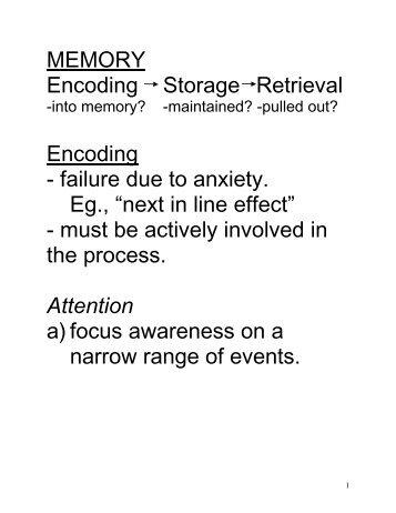 MEMORY Encoding Storage Retrieval Encoding - failure due to ...