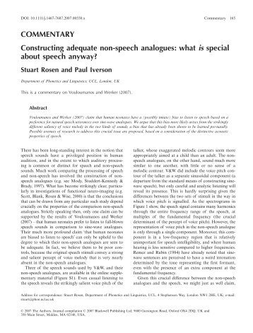 what is special about speech anyway? - Department of Psychology