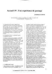 Accueil 19 : fJne expérience de passage - Psychanalyse et médecine
