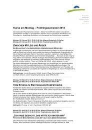 Kurse am Montag Frühlingssemester 2013 - Kantonale ...